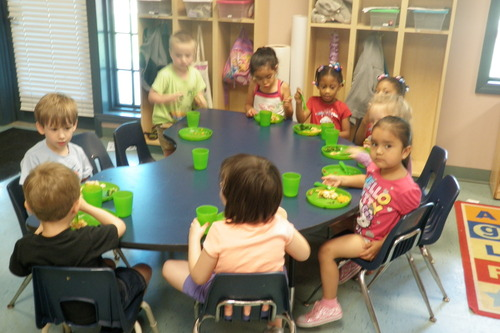 Little Angels Preschool lunch time with the Dragon Flies 4-5 yr olds